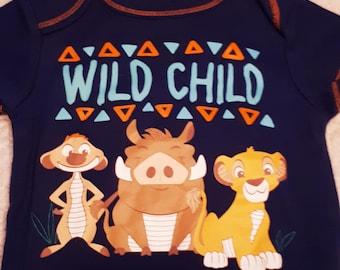 """Blue """"Wild Child"""" Simba Puppy Shirt (Size 1P)"""