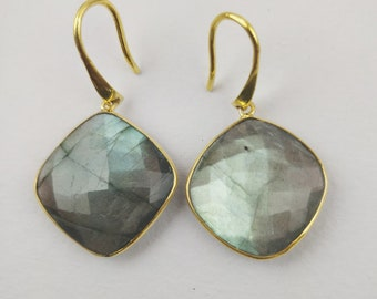 Handmade Sterling Silver Earrings (Labradorite Gemstone)