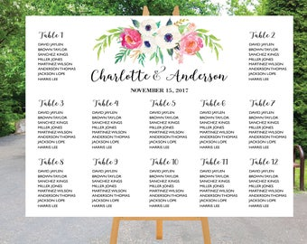 PRINTABLE Wedding Seating Chart Template, Boho Wedding Table seating assignment, Decor, Editable Text, Instant Download. Edit PDF - ASC008