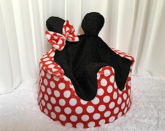 Minnie Mouse Inspired Bumbo Cover. Red and White Polka Dot Minky with Black Dot Minky