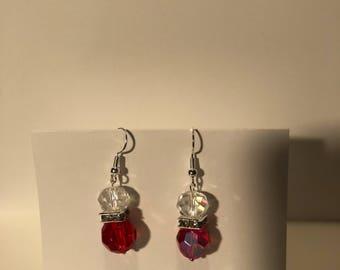 Power Red Crystal Dangle Earrings