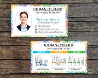 Rodan and Fields Business Cards with Photo, Fast Personalized, Rodan + Fields Independent Consultant, Modern Business Cards RF10
