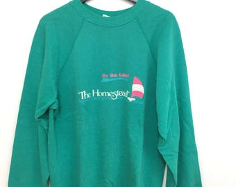 SALE Vintage 80s Hanes Green Sweatshirt The Homestead Large size Made In USA