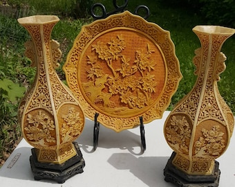 Korean Carved Plate And Set Of Two Vases