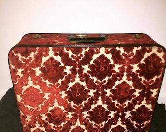 vintage velvet damask suitcase