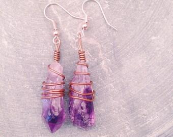 Crystal Earrings Wire Wrap Earrings // Amethyst Earrings // Copper Wire // Crystal Jewellery Earrings // Amethyst Jewellery