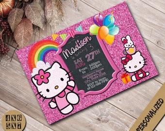 Hello Kitty Invitation,Hello Kitty Birthday Invitation,Kitty Invitation,Hello Kitty Party,Hello Kitty Invite,Hello Kitty Birthday