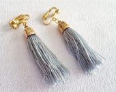 Fun gray tassel earring, Clip on tassel earrings