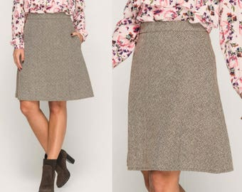 Wool Tweed Skirt,Woman Warm Skirt, Winter Skirt with pockets,Custom Skirt Vintage Skirt Brown Skirt