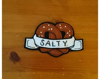 Salty Pretzel Felt Patch