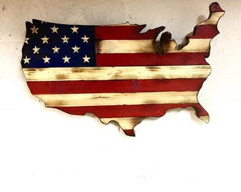 Patriotic Burned Wood American Flag Wall Art (USA)