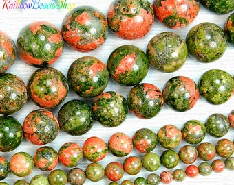 Natural Green Red Unakite beads, Gemstone Beads, Stone Spacer Beads, Round Natural Beads,  4mm 6mm 8mm 10mm 12mm 15''5 strand