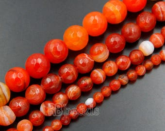 Faceted Red Stripe Agate Beads, 6mm 8mm Round Agate beads, Spacer Red Gemstone beads, Jewelry Stripe Agate beads, Faceted Red beads