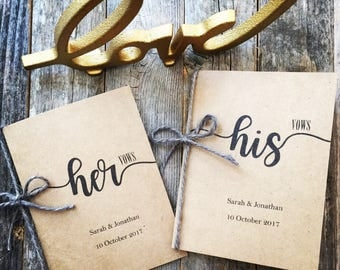Wedding Vow Book His and Hers Personalized Vintage Rustic Wedding