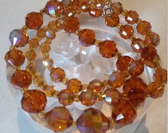 1950's vintage necklace, Orange vintage necklace, Aurora Borealis, C1950's beaded Necklace STUNNING, rainbow oil on water colours, BEAUTIFUL