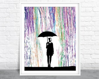 Rainbow Rain Art, Umbrella Woman Art, Colorful Painting