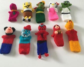 Peruvian Wool knitted Finger Puppets Toys Handmade