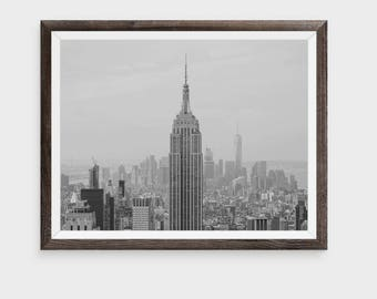 New York Print, New York City Print, New York Skyline Photo, Empire State Building, Large Wall Poster, Minimalist Print, Architecture Print