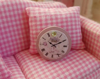 Dollhouse Miniature,Doll house Miniatures,Shabby Chic Miniatures,Dollhouse Wall Clock,Miniature Clock, 1:12th Scale,Shabby Chic Clock