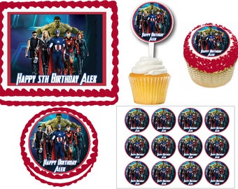 The Avengers Birthday Party Edible Cake Cookie Toppers or Plastic Cupcake Pick Stickers Decoration Baking Supply