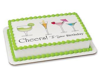 Birthday Cheers Edible Frosting Sheet - 1/4 Sheet