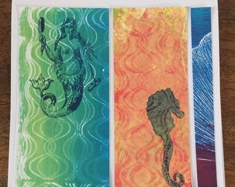 Original mermaid seahorse art card