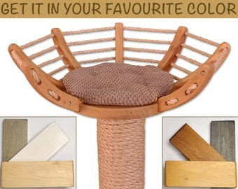 Beautiful and sturdy cat tree, scratching post - solid, stable, heavy base, handmade cat accessories, pet accessories, cat furniture