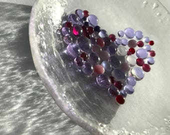 Fused glass heart bowl