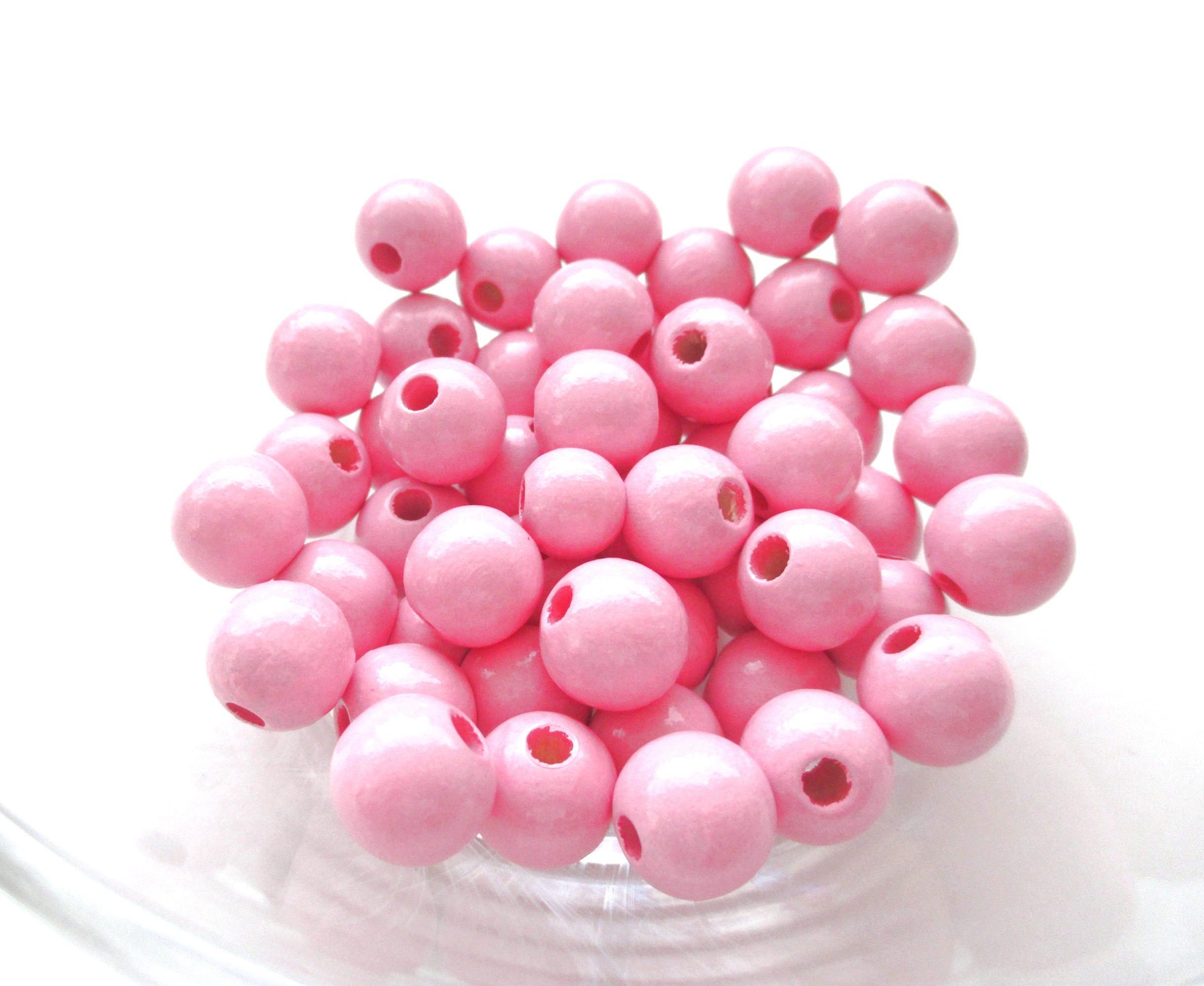 50 perles en bois pour attache t tine 8mm rose - Perle en bois pour attache tetine ...
