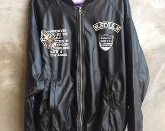 Vintage The Guilty Parties Outrages Inc Wacko Maria Leather Reversible Jacket Size L