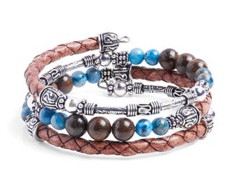 Bracelet Kit Calypso Leather Wrap Bracelet with Gemstones - Camel