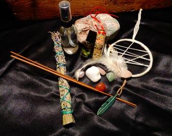 Love Dream Catcher Holistic Healing Kit Crystal Infused Oil Room Spray Rose Quartz Lavendar Smudge self love spell Pagan Alternative Healing