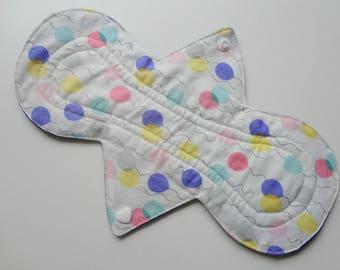 "10"" Regular Flow - Festive Pastel Balloons - Waterproof Reusable Cotton Cloth Sanitary Pad"