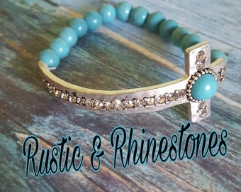 Beaded Turquoise Cross Rhinestone Bracelet