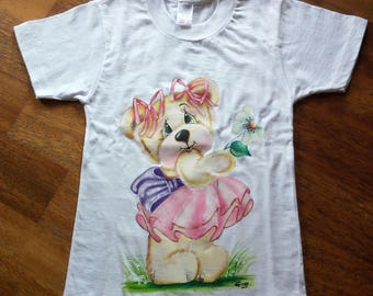 White cotton hand painted t-shirts, size 2 years
