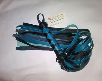 Teal Blue Leather Flogger BDSM Toy