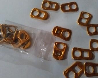 10 CAPSULES of cans rectangular orange gold foil