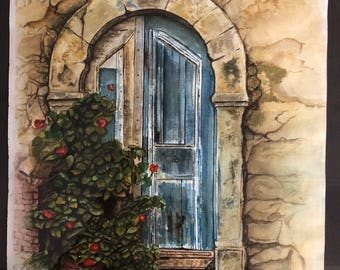 Door Study in Blue  Watercolor
