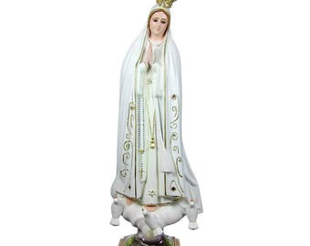 "11"" Hand-painted Our Lady Of Fatima Statue Virgin Mary Religious Statue #1025"