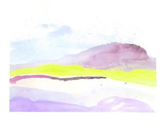 "Abstract Landscape Watercolor, Art Print, Nature Art Print, Abstract Wall Art, Mountain, Neon Art, purple, yellow, watercolour- 11"" x 15"""