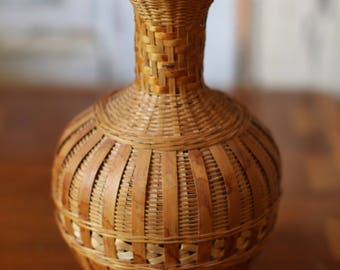 Vintage Wicker Basket Vase