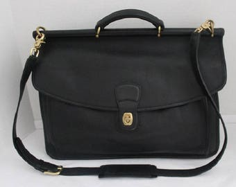 Vintage Coach Black Leather Briefcase