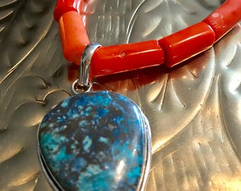 Chrysocolla Sterling Silver pendant and  Orange Bamboo Coral Turquoise and Larimar Necklace.