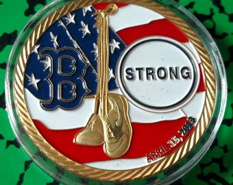 9/11 New York Tough Boston Strong Colorized Challenge Art Coin