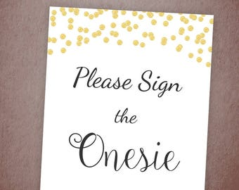 Please Sign the Onesie Printable, Baby Shower Games, Gold Confetti, Onesie Sign, Instant Download, Baby Shower Activity, DIY, B001