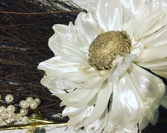 Gold and Pearls I Jumping Broom 36' and Up, Pearls, Gems, Golden Sunflower, Petals, White Satin