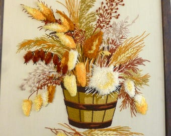 Vintage Crewel Embroidered Picture Dried Flowers Floral Bouquet 3D 70S Framed 20X24 Handmade Bucket Yellow Gold Brown Rust Large