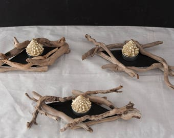 Three wood candlesticks floated - ideal table decoration