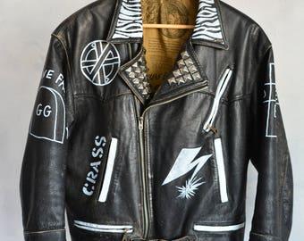 Hand Painted Rock Punk Metal Leather Moto Vtg Jacket Medium