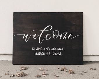 "Wedding Welcome Sign // 18""x24"" //Stained Wood // Custom"